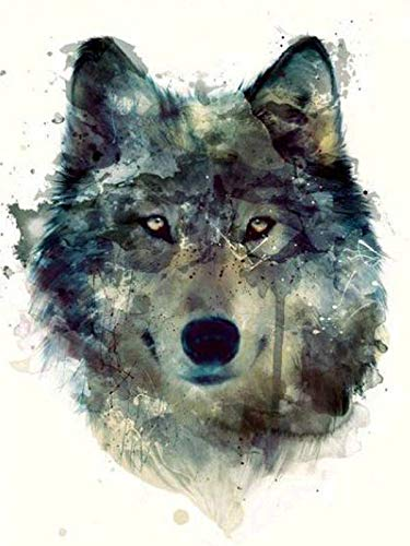 5d DIY Complete Round Drill Bit Diamond Painting Watercolor Wolf Kit Diamond Embroidery 3D Mosaic Artwork Home Decoration Frameless-50x60cm