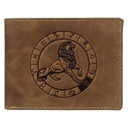 Greenburry Vintage 1705-Löwe Leder Geldbeutel Geldbörse Portemonnaie mit Sternzeichenmotiv Löwe