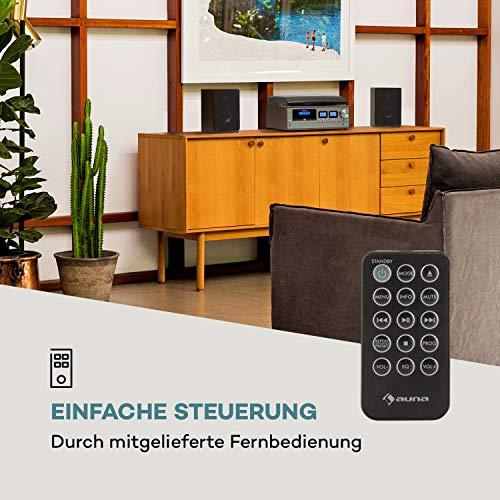 auna Oxford Retro-Stereoanlage - DAB+, FM Radiotuner, 2 Lautsprecher mit 20 W max. Bluetooth, Plattenspieler, Riemenantrieb mit 33, 45, 3 Geschwindigkeiten, MP3-fähigen CD-Player, AUX-In, Dunkelgrau
