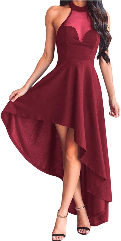 SEBOWEL Lrud Womens Halterneck Sexy Sheer Mesh Evening Gowns Sleeveless Party Club Dress