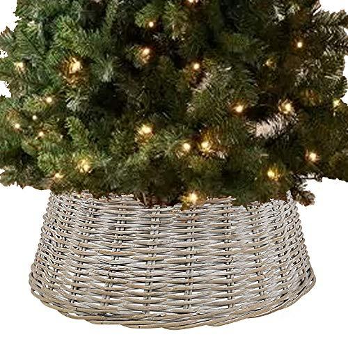 URBNLIVING - Falda para árbol de Navidad (mimbre de bambú, tamaño grande), color blanco