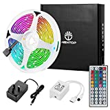 WenTop Led Strips Lights with Remote 5M(16.4Ft) Multi-Color Led Strip Lights with Remote SMD 5050 RGB Led Strip Lighting for Home, TV, Bedroom, Kitchen,Bar, Party, Festival Decorative