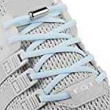 Elastic No Tie Shoe Laces For Adults,Kids,Elderly,System With Elastic Shoe Laces(2 Pairs), Baby Blue, X-Large