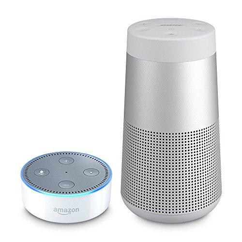 Bose SoundLink Revolve Enceinte Bluetooth - Argent + Amazon Echo Dot (2ème génération), Enceinte connectée avec Alexa, Blanc