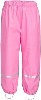 Deslify Boys Girls Rain Pants Toddler Fleece Lined Rain Wear Pink,2T