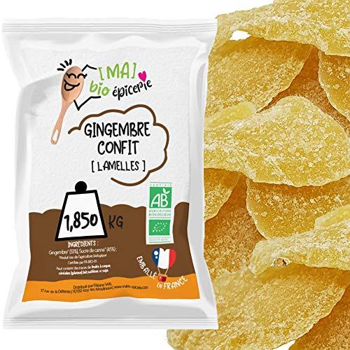 [MA] bio-épicerie   Gingembre confit BIO en lamelles   1,850 KG   Sachet vrac   Certifié biologique   Fruit confit de qualité supérieure   Sans conservateur