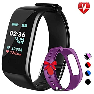 Fitness Tracker,Activity Tracker Watch with Heart Rate Blood Pressure Blood Oxygen Monitor,Waterproof Smart Fitness Band with Step Counter,Calorie Counter,Sleep Monitor for Kids Women and Men (purple)