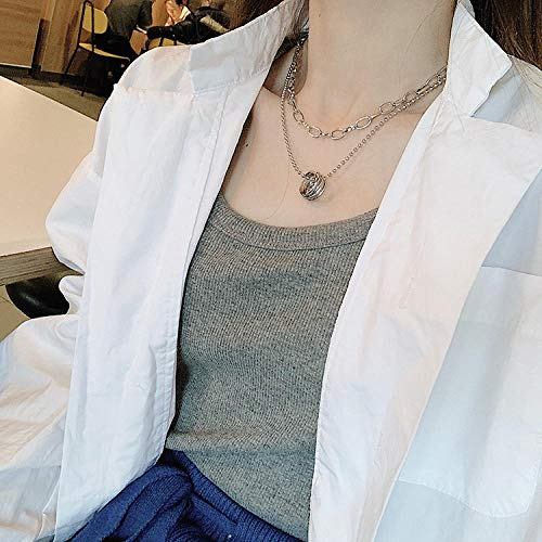 NUANYANG European and American Simple Letter Round Long Necklace Double-Layer Retro Sweater Chain Hipster Collar Collar Necklace Perfect Ladies Gift-Ring Necklace