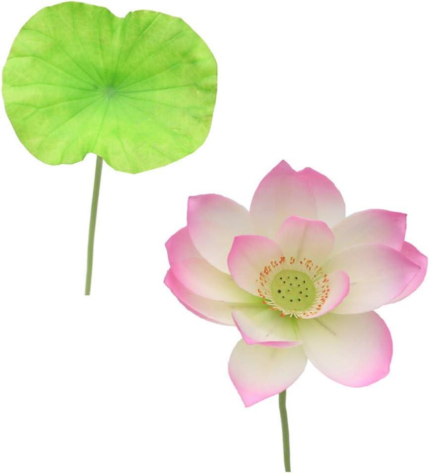 El Paso Popular overseas Mall POPETPOP 2pc Artificial Lotus Flower Hom Leaf Fake Plastic