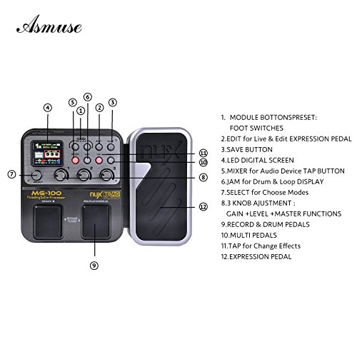 MG-100 Professional Multi-Effects Pedal Processor Musical Instrument Parts 40s Record 55 Effect Mode 10 Sound Di Box Electric Guitar...