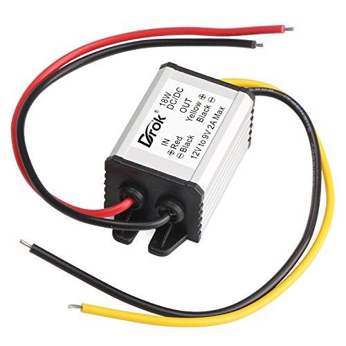 DROK 12V to 9V 2A 18W DC-DC Buck Power Converter Voltage Regulator Transformer Voltage Step Down Power Supply Module Waterproof