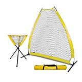 PowerNet 7 Foot Portable Pitching Screen A-Frame + Ball Caddy Bundle | Baseball Pitcher Protection | Instant Player and Coach Protector | Heavy Duty Netting | Batting Practice | Team Color Yellow