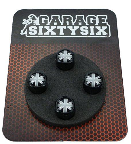 Garage-SixtySix Ventilkappen UK schwarz-weiß / 4 Stück in schwarz/Modell: Pittsburg