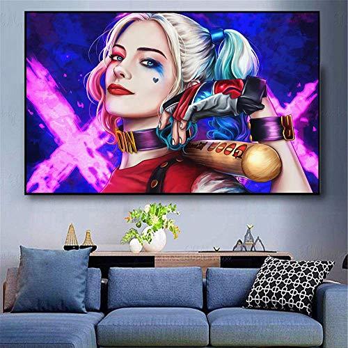 Puzzle 1000 piezas Crazy Harley Quinn Art Picture Película Imagen de pared Decoración de regalo-Decoraciones modernas para el hogar Arte retro en Juguetes y juegos Gran ocio v50x75cm(20x30inch)