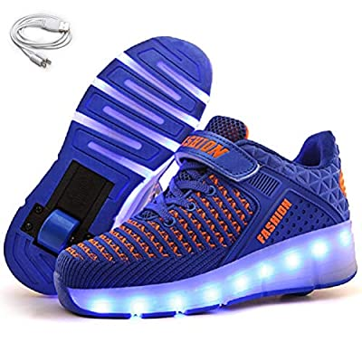 Ehauuo Kids USB Charging Wheel Shoes with Lights LED Roller Skate Shoes Sneakers for Unisex Child Girls Boys Beginners Gift(4 M US Big Kid, C-Blue)