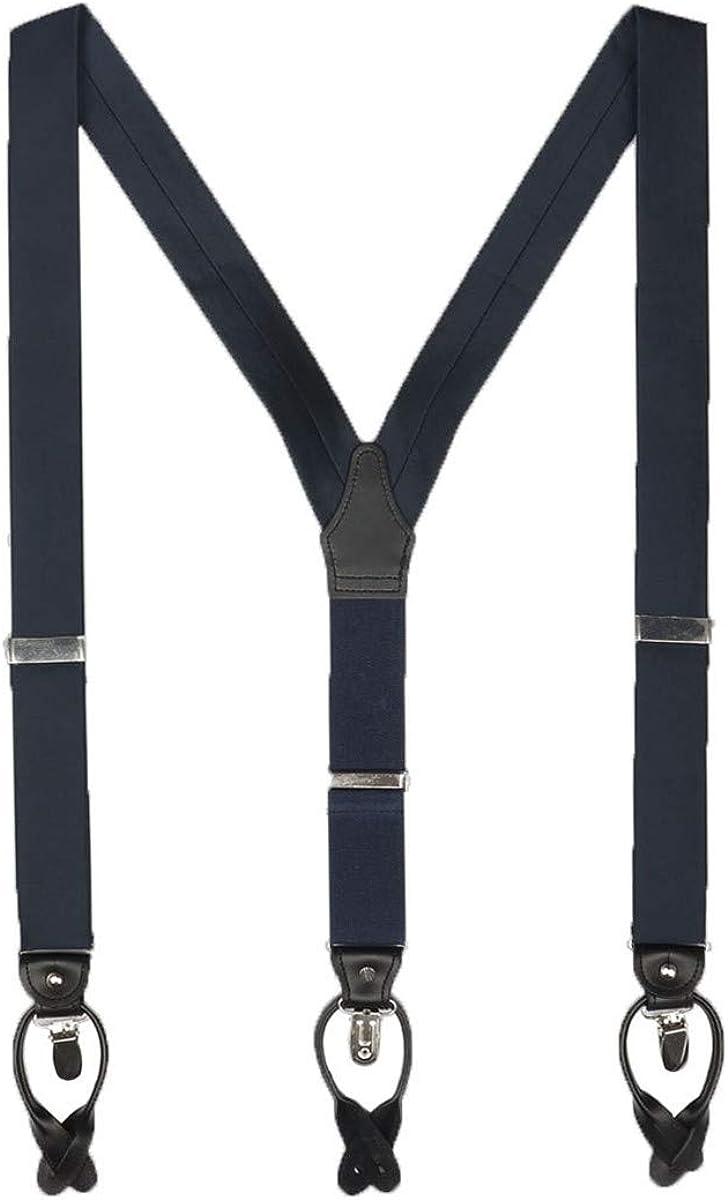 Mens Navy Blue Silk Suspender 35mm Y Back Button Clip 2 in 1 Uses Suspender for Men