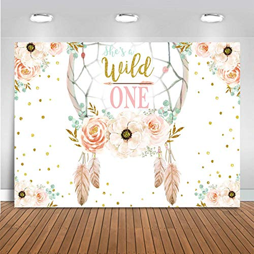 Mocsicka She's a Wild One Birthday Backdrop Girls Princess Happy First 1st Birthday Party Banner Vinyl Floral Feather Bohemian Dreamcatcher Dessert Table Decor Photobooth (7x5ft)