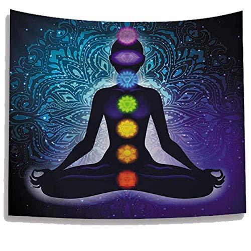 WUIOS Wandteppich, indische 7 Chakren, Yoga, Meditation, Studio Medium schwarz