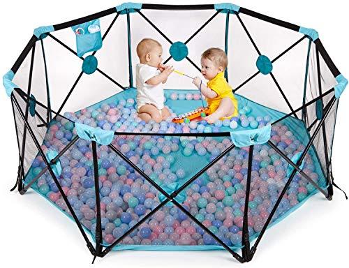Birtech Spielgitter für Kinder Laufstall Schutzgitter 8-teilig faltbar tragbar Waschbar mit atmungsaktivem Netz und Aufbewahrungstasche (blau)