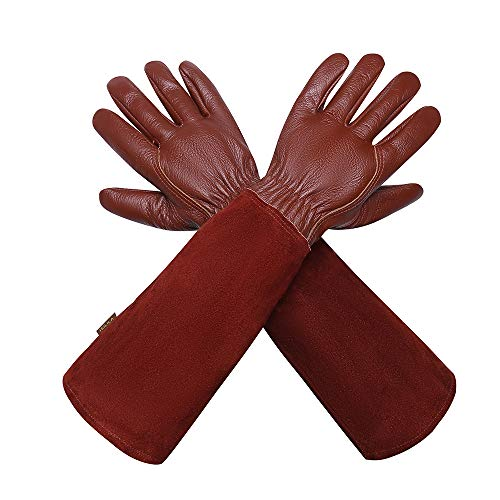 Gartenhandschuhe Für Damen und Herren - Isilila Rosen Leder Langen Rindsleder Handschuhe dornensichere Thorn Proof Atmungsaktiv & Haltbarkeit Gauntlet Handschuhe (L, Braun)