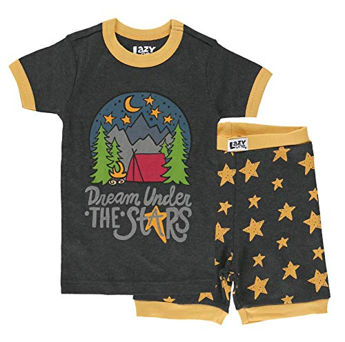 Lazy One Short-Sleeve Summer PJ Sets for Girls and Boys, Kids Pajama Sets, Nature, Camping, Outdoors (Dream Under The Stars, 10)