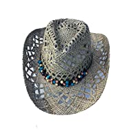 MYZOPER Woven Wide Brim Western Straw Cowboy Hat with Decorative Band