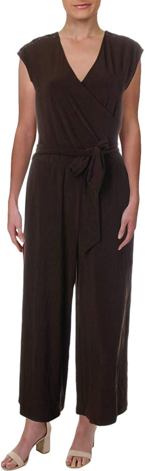 Lauren Ralph Lauren Womens Petites Party Day to Night Jumpsuit Brown PXS