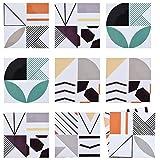 Demine - 10 Pezzi Adesivi per Piastrelle, mpermeabile PVC Autoadesivo Decorazione per Cucina Bagno Parete Fai da Te Set, Stile Colore e Geometrico Wall Stickers (20 * 20cm)