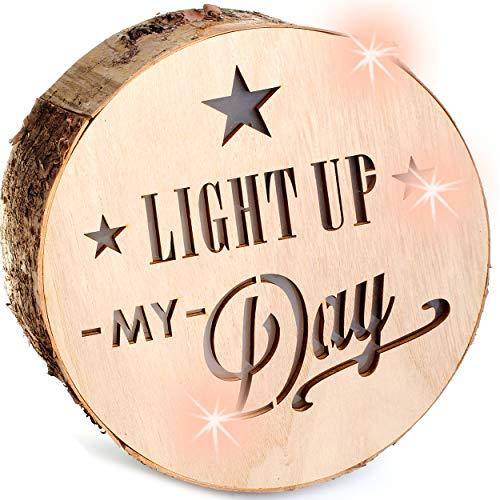 alles-meine.de GmbH 1 Stück _ LICHT & Deko - Holzstamm - LED -  Light Up My Day  - Holzscheibe - Batterie betrieben - rund - Ø 23 cm - Dekolicht - zum Aufhängen / Holz - Weihna..