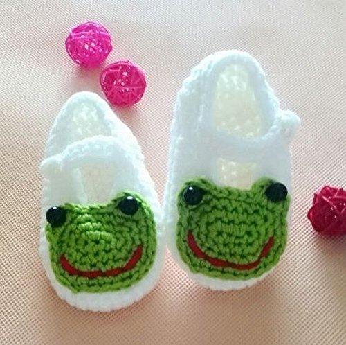 Happy Little Sheep Chaussettes en crochet pour bébé Motif grenouille Blanc