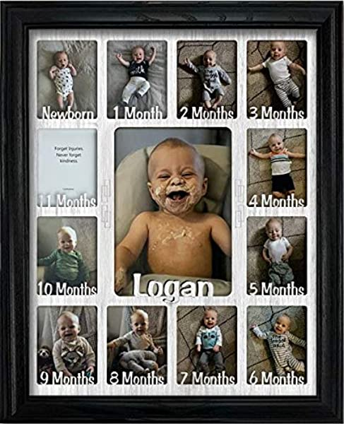 Northland Baby First Year Personalized Frame Holds Twelve 2 5 X 3 5 Newborn Photos And 5 X 7 One Year Picture Black Frame White Insert Customizable With Any Name