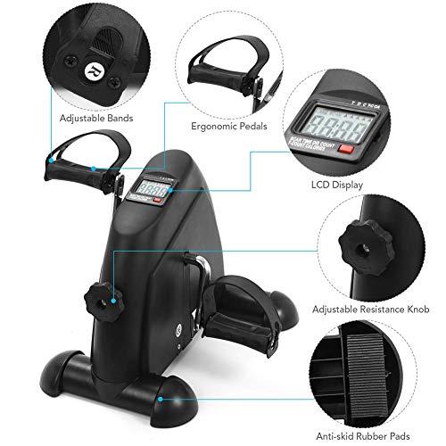 WENYAO Gymnasium Bike Fitness Mini Pedal Heimtrainer LCD Display Indoor Bike Stepper-Black