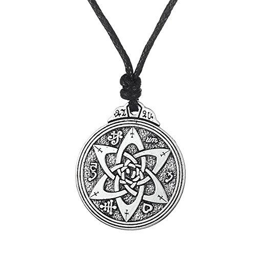 Fishhook Wicca Talisman für Dichter Schriftsteller und Schauspieler Pentagramm Amulett Runen Double Side Anhänger Halskette