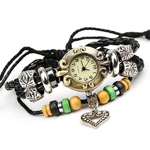 ZSDGY Perlen Lederarmband, Vintage PU Schmuck Armband, ausgefallene Armband