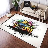VINISATH Alfombra Salon Granpelo Corto Joven,Joven,Cultura Hip Hop,Graffiti,Arte y Cultura callejera,Artista,Colorido,Grunge Antideslizante Alfombras Dormitorio Modernas Sala