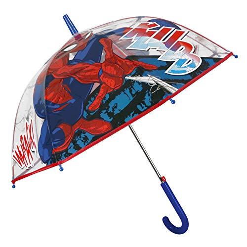 Spiderman Regenschirm Transparent Kinder - Marvel Stockschirm für Jungen 4 5 6 Jahre - Schirm Robust Windfest mit Spinne Schwarz - Kinderschirm mit Details Rot Blau - Durchmesser 74 cm - Perletti Kids