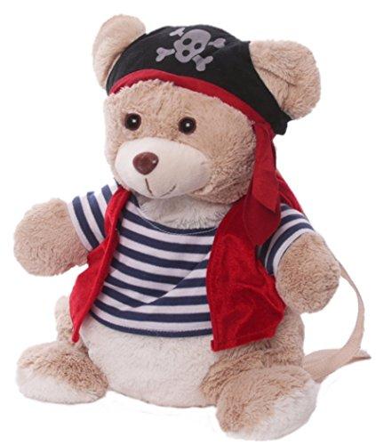 Inware 7975 - Kinder Rucksack Piratenbär, beige/blau/rot, 33 x 18 cm