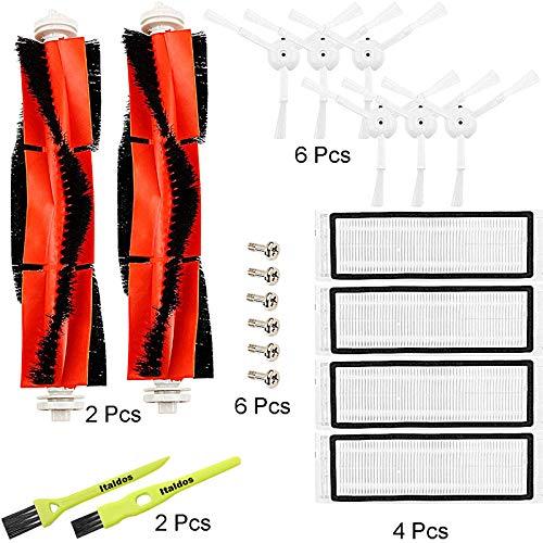 Italdos Kit Accessori per Xiaomi Roborock S50 S51 S55 S5 Aspirapolvere Robot- 6 Spazzola Laterale + 4 HEPA Filtro + 2 Spazzola Principale + 2 Spazzolini