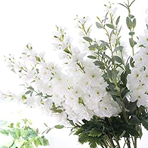 Gumolutin Artificial Silk Flowers 1 Stem Long Stem Delphinium for Home Office Indoor Outdoor Wedding Decoration Festive Furnishing