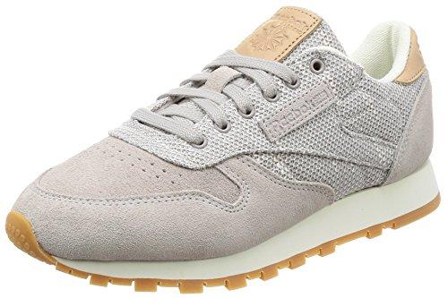Reebok Damen Cl Leather Ebk Gymnastikschuhe, Grau (Whisper Grey/Chalk/Lilac Ash/vegtan-Gum), 40.5 EU