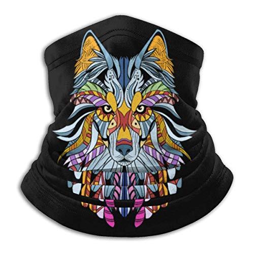XXUU Wolf Product Awesome Native American Art Unisex Microfibra Cuello Calentador Cuello Polaina Mascarilla Hombres Multifuncional Bandana Mujer Bufanda Envoltura de la Cabeza Máscara Polvo Viento So