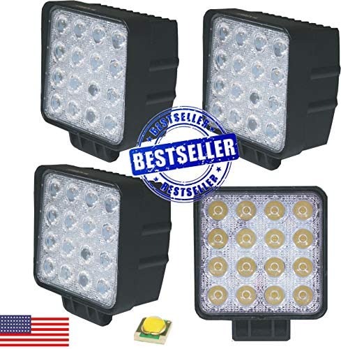 #1 48W Square LED Work Baltimore Mall Light 4 PACK by Selling Lamp OffroadTM Arsenal