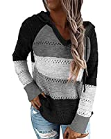 QACOHU Hollow Out Sweater for Women Casual Long Sleeve Hoodie Pullover Sweatshirts V Neck Striped Drawstring Knitted Blouse White Black L