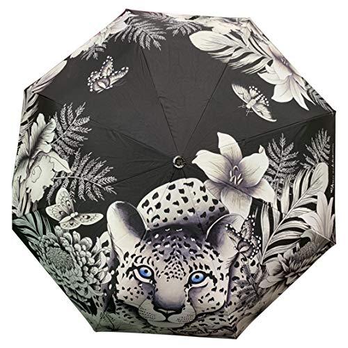 Anuschka Regenschirm, automatisches Öffnen/Schließen, UPF 50+, maximaler Sonnenschutz, wasserdicht, passt in die Handtasche, 96,5 cm Gr. Einheitsgröße, Cleopatra Leopard