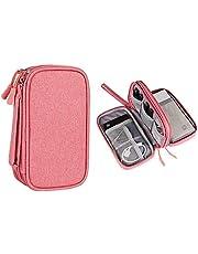 Hosoncovy Power Bank etui akcesoria elektroniczne organizer torba organizer na kabel torba pamięć USB obudowa zewnętrzna dysk twardy (różowy)