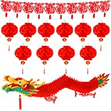 TUPARKA 12 Pack Chinese New Year Decorations, Chinese Dragon Garland Chinese Red Paper Lanterns Chinese Fu Hanging Garland Decoration for Chinese Lunar New Year