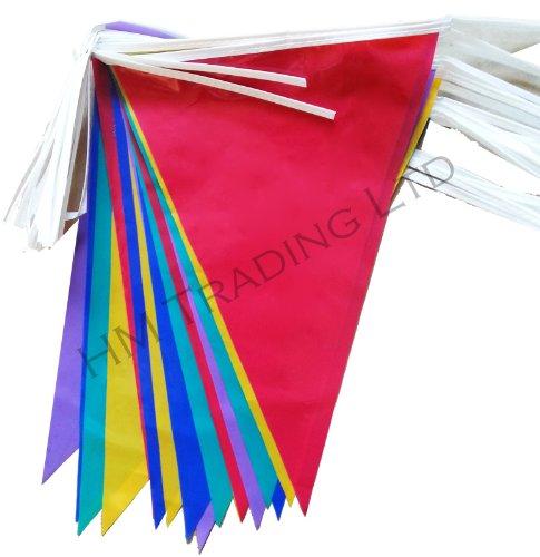 36 drapeaux Multicolore de 10 m en PVC Plastique Fanions Bannière Fanions à Double Face Intérieur et Extérieur Décoration de Fête