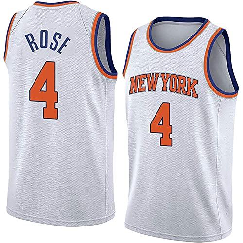 New York Knicks Rose Jersey,Jersey De Baloncesto,Chaleco De Baloncesto No.4,Chaleco De Baloncesto Transpirable Rápido,Fibra De Malla De Poliéster,Uniforme De Entrenamiento, Camiseta(Size:S,Color:A4)