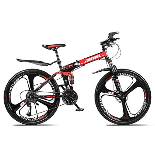 KEKEYANG Outdoor Outdoor Sports Folding Mountain Bike, 26 Inch, 27 Speed, Variable Speed, Double Disc Brakes, Shock Absorption, Offroad Bicycle, Adult Men Outdoor Riding,Red Bike (Color : Red)