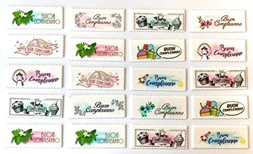 ITALIAN PIE - Biglietti Targhette 10x4 cm. in pasta di zucchero con scritta Buon Compleanno per decorazione torte e gelati - 20pz. - MADE IN ITALY